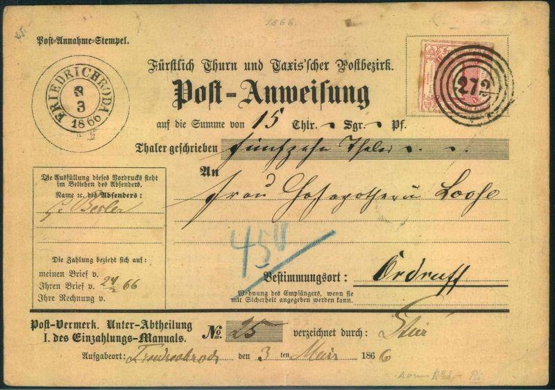 1866,1 Sgr. Farbig durchstochen als EF auf Postanweisung ab FRIEDRICHSTHAL mit Nummernstempel