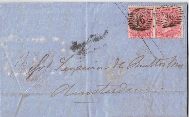 1862, folded letter franked with hor. Pair 4 d wothout corner letters and wm large garter to Amsterdam. One stamp with d