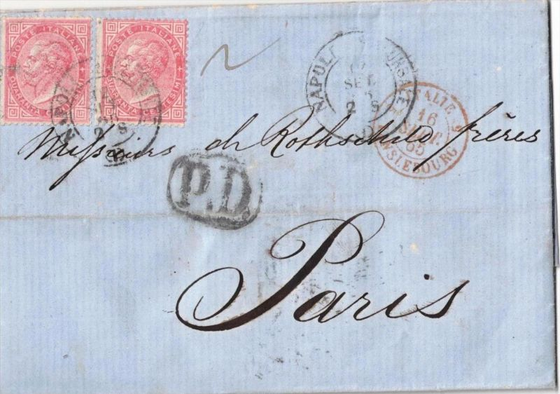 1869, 40 Ctm. King Emanuel II. on folded letter with full content from NAPOLI to Paris.
