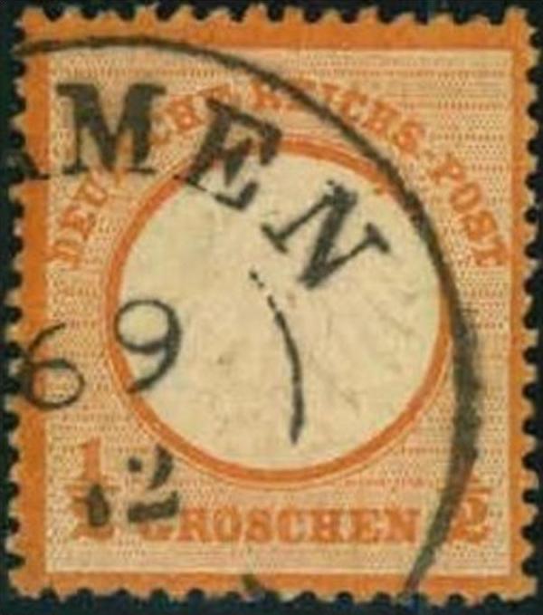 1872, 1/2 Groschen kleiner Brustschild, orange - BARMEN