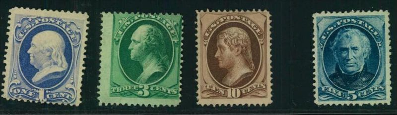 1870/1875, 1,2,10 and 5 Cent Presidents very fine without gum