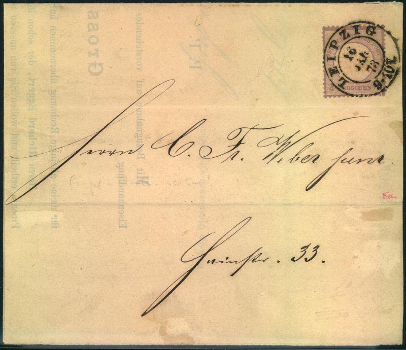 1873, 1/4 großer Brustschild auf Ortsdrucksache LEIPZIG 16 JAN 73 (Mi. 700,-)