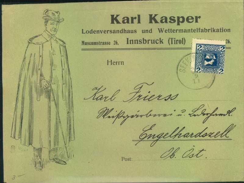 1911, 2 Kreuzer Zeitungsmarke Merkur, Ausgabe 1911 mit privater Zähnung 12 auf dekorativem Firmenbrief ab SEEKIRCH.