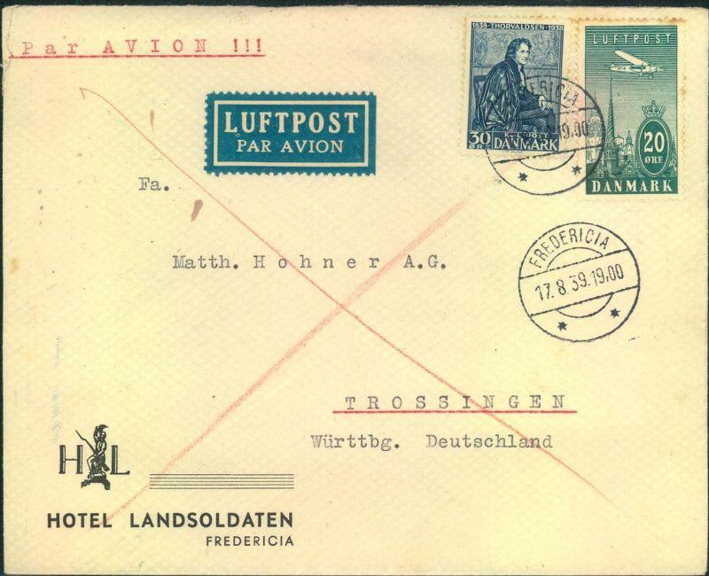 1939, Luftpostbrief ab FREDERICIA nach Deutschland
