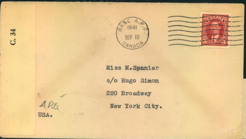 1941, airmail letter sent from Camp