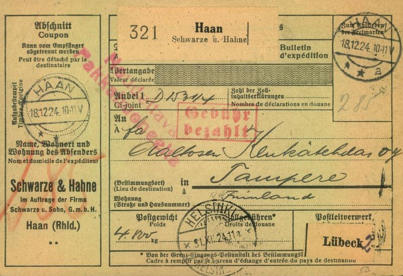 1924/1925, Selbsbucher-Paketkarte