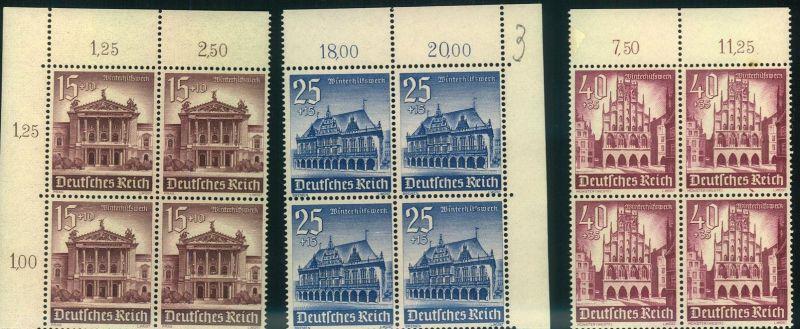 1940, Winterhilfe im postfrischen Rand- (Eckrand-)Viererblock. Michel 160,- +