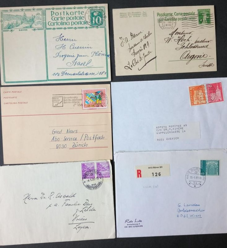 1910/1990, SCHWEIZ: ca. 250-300 Briefe und Karten netto ca. 1.000 Gramm