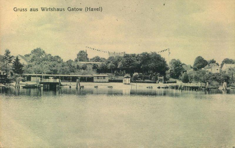 1922, Wirtshaus GATOW (HAVEL); Soandau, Brücken Gitterstempel