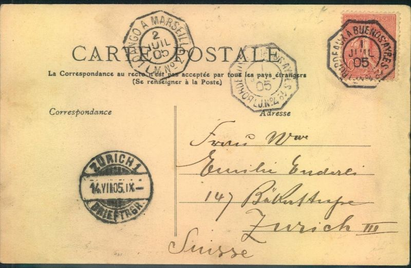 1905, ppc from DAKAR franked with 10 C.