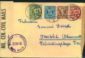 1946, Auslandsbrief mit 75 Pfg. AM-Post MiF ab PINNEBERG in das dänische Flüchtlingslager Oksböl. Umschlag zweiseitig of