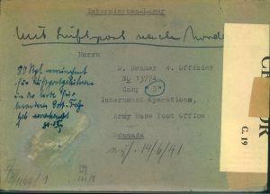 1943 ca. Internierten-Sendung  aus Deutschland per Luftpost, bar bezahlt, nach Canada mit deutscher und canadischer zens