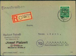 1948, Einschreiben 84 Pfg. Ziffer Masch-Aufdr. mit Not-R-Stempel COTTBUS: Michel unterbewertet