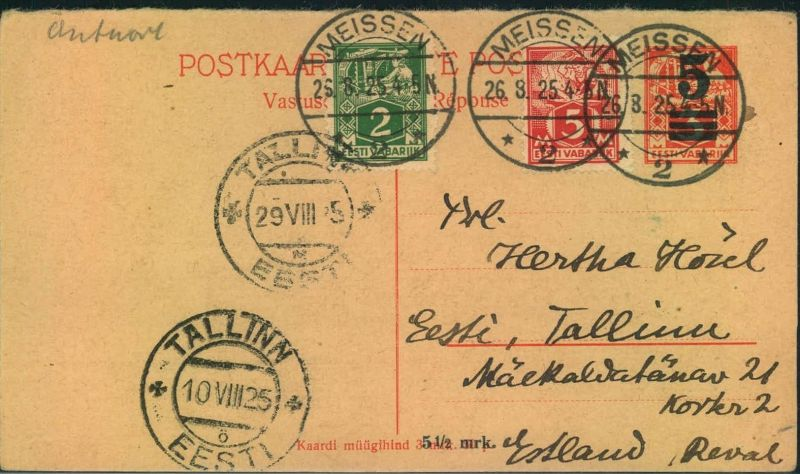 1935, reply part of a double stat. Card 5 on 3 Mk. With additional franking back from MEISSEN to Tallinn.