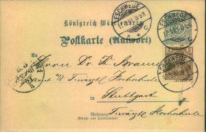 1901, seltene Mischfrankatur 3 Pfg. Germania Reichspost auf württembergischer 2 Pfg. Antwortkarte ab Eschwege. Nur kurze