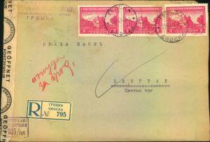 1944, Einschreiben mit dreimal 3 Dinar ab GROCKA nach Belgrad. Mit Zensurstreifen