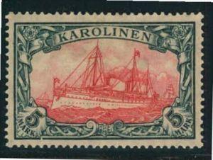 1919, 5 Mark kaiseryacht Kriegdruck mit 25:17 Zähnungslöchern postfrisch.