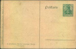 ca. 1910, Privatganzsachenkarte mit 5 Pfg. Germania Wertstempel links gezähnt aus Kartenheftchen. Motiv Kaufhaus Werthei