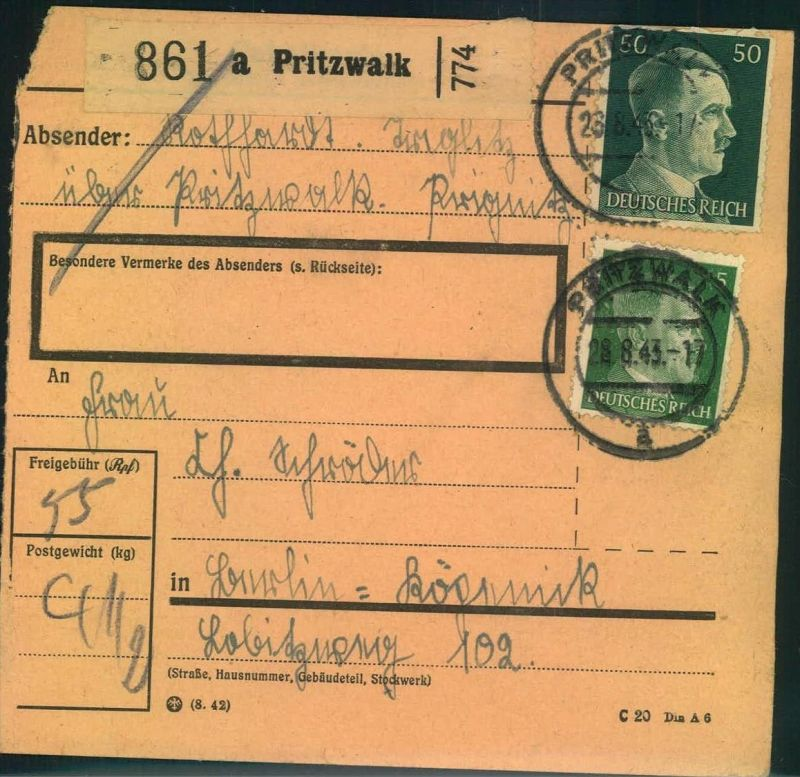 1943, Paketkarte ab PRITZWALK nach Berlin-Köpenick.