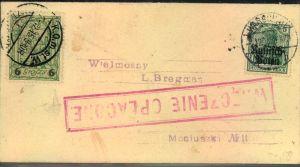 1915, Drucksache mit 5 Pfg. Germania IN WARSCHAU mit 6 Gr. Lokalpost mit Stempel