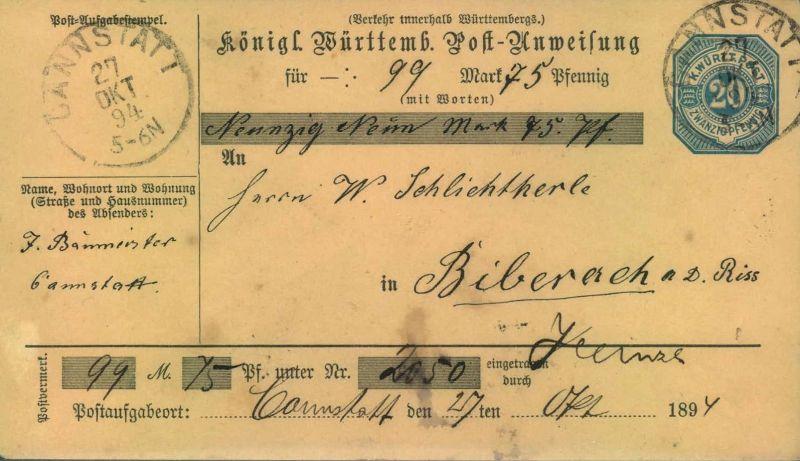 1894, 20 Pfg. Postanweisung von CANNSTADT nach BIBERACH/RISS - Kabinetterhaltung