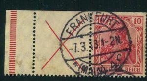 1913, Zusammendruck 10 Pfg. Germania mit Andreaskreuz und Randleiste. Oben typische Heftchenzähnung. Michel € 600,-