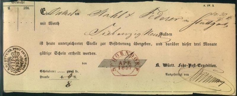 1857: SCHORNDORF, roter (!) Steigbügelstempel auf Fahrpost-Schein - In rot ist dieser Stempel nicht registriert.