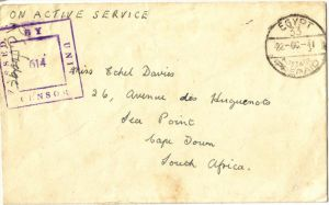 1941: Field Post from EGYPT to Cape Town South Africa PASSED BY UNIT CENSOR