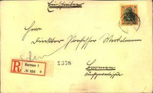 1910 (?), Ortseinschreiben mit EF 25 Pfg. Germania in BARMEN