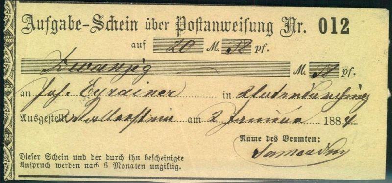 1884, Aufgabeschein für eine Postanweisung WALLENSTEIN