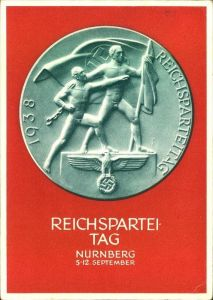 1938, Festpostkarte Reichsparteitag, Sonderstempel NÜRNBERG, Propaganda
