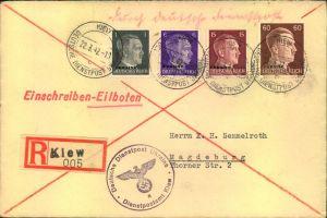 1942, Einschreiben/Eilboten mit portogerechter Frankatur ab KIEW DEUTSCHE DIENSTPOST 22.3.42 nach Magdeburg, Ankunftsste