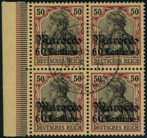 1911, 60 Centimes auf 50 Pfg. Germania im Viererblock mit seltenem Stempel TANGER MAROCCO.