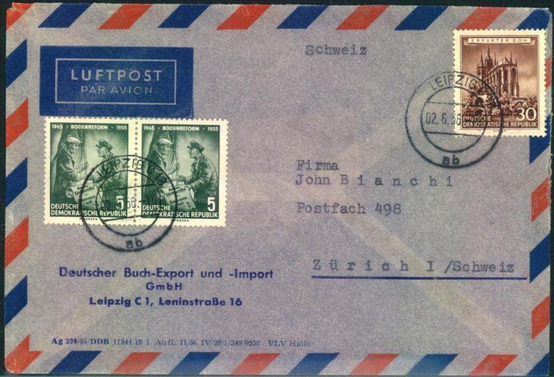 1956, Luftpostbrief ab LEIPZIG in die Schweiz mit fünf (!) Sperrwerten vorder-und rückseitig frankiert.