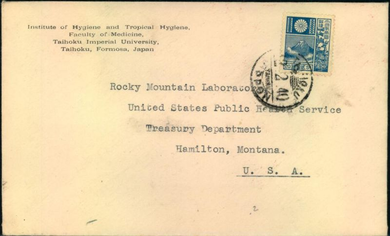 1940, letter from TAIHOKU, FORMOSA to Hamilton, Montana, USA.