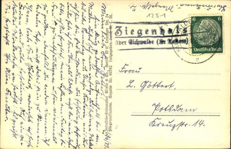BRANDENBURG : Ziegenhals über Eichwalde (Kr. Teltow), 1939, Posthilfsstellen Stempel