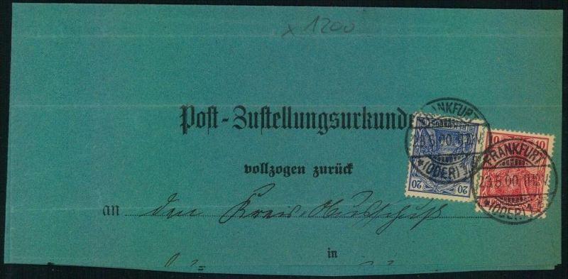 1900, BRANDENBURG, FRANKFURT (ODER), Post-Zustellungsurkunde, Germania
