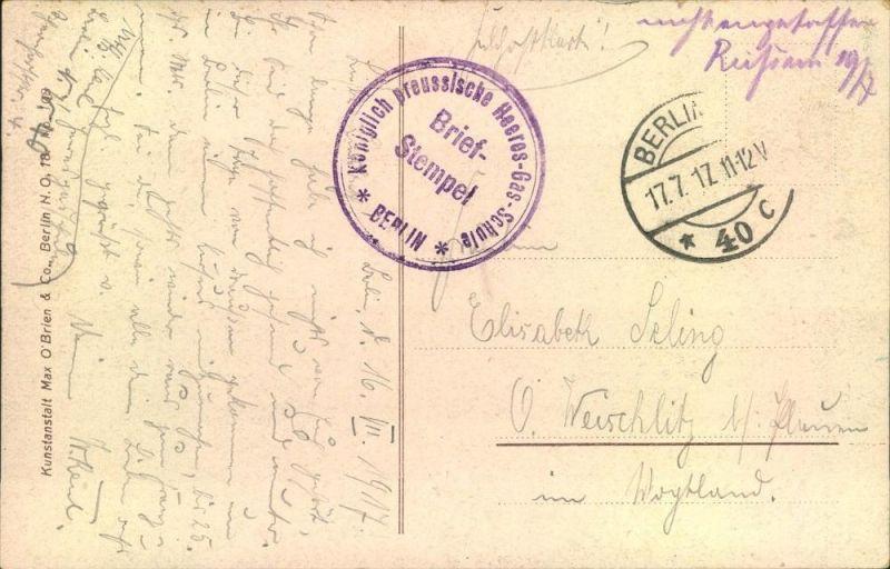 1917, Feldpost ab BERLIN NW 40,