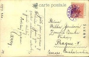 1920, picture postcard sent with 4 Sen and DAIREN I.J.P.O. postmark to Prague.