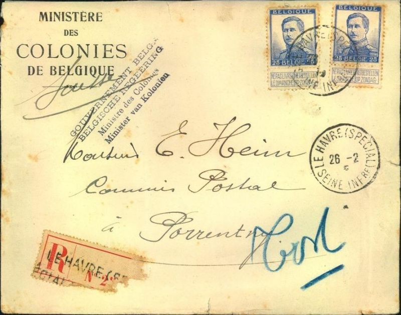 MINISTERE DES COLONIES DE BELGIQUE, registered letter LE HAVRE (SPECIAL)