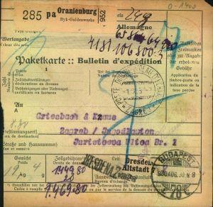 1930, Paketkarte nach Jugoslawien ORANIENBURG, Byk-Guldenwerke - Brandenburg