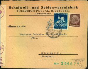 1941, Brief im Sondertarif 2. Gewichtsstufe ab HILBETTEN (OSTSUDETEN) in die Slowakei. Selten.