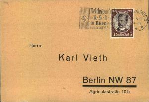 1934, 3 Pfg. Kolonialforscher als EF auf Drucksache NÜRNBERG