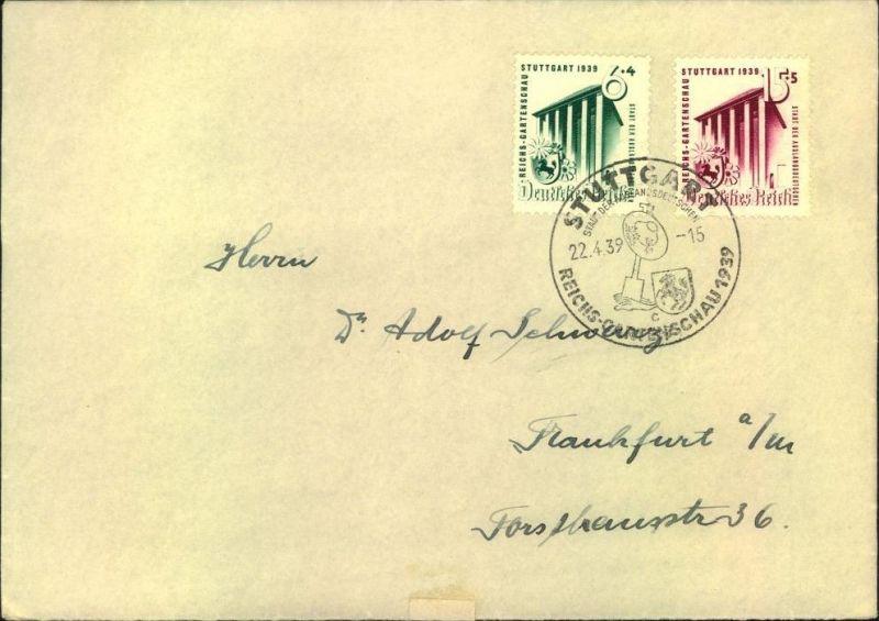 1939, Gartenschau (Mi-Nr. 692/93) auf FDC mit SSt STUTTGART 22.4.39 - Kat. 150,-