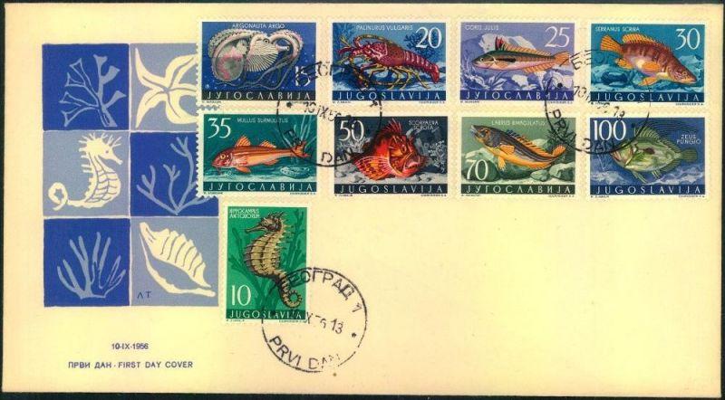 1956, animals of the sea (Yugoslavia Mi-Nr. 795/805 FDC)