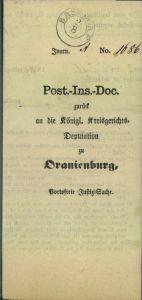 BASDORF, 1858 Post-Insinuations-Dokument nach Oranienburg - Brandenburg