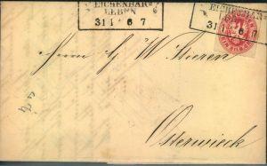 EICHENBAR-LEBEN, 1867 Brief mit 1 Sgr. Wappen nach Osterwieck- Brandenburg