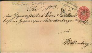 WIESENBURG, 1864  1 Sgr. Ganzsachenumschlag nach Wittenberg - Brandenburg