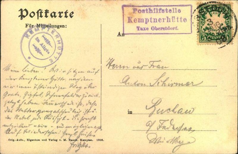 Posthilfstelle Stempel Kemptnerhütte 1908