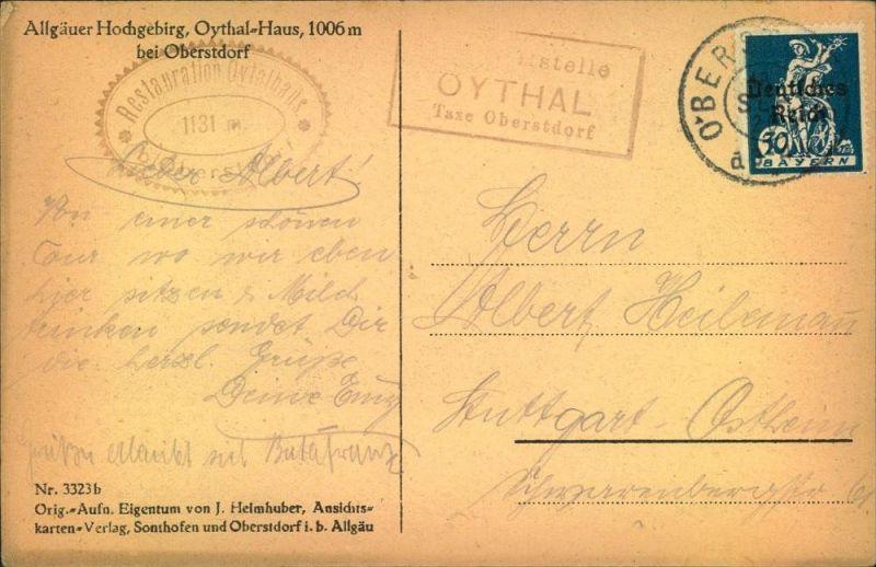Posthilfstelle Stempel OYTHAL  Taxe Oberstdorf ; Ansicht Oythal-Haus, 1920